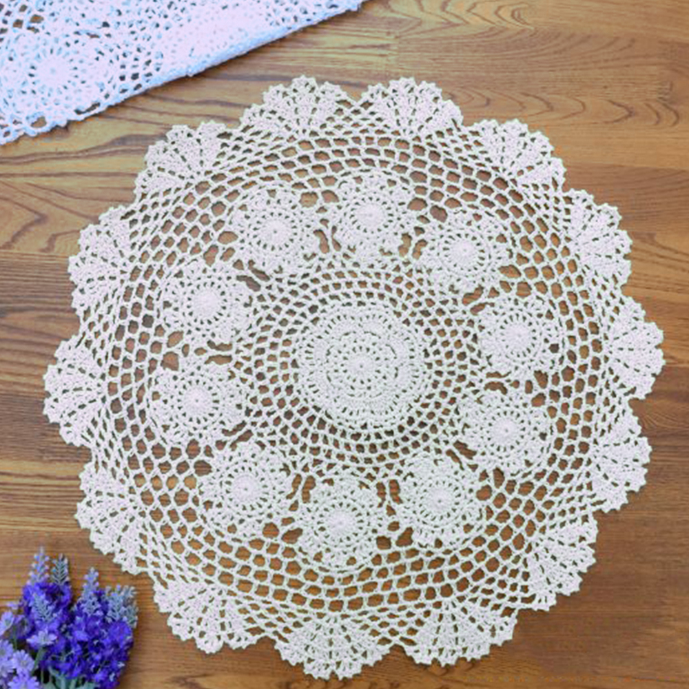 White Vintage Hand Crochet Lace Doily Round Table Topper Small