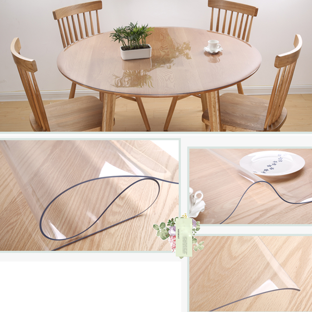 1 5mm Pvc Clear Tablecloth Round Transparent Table Protector Cover Waterproof Ebay