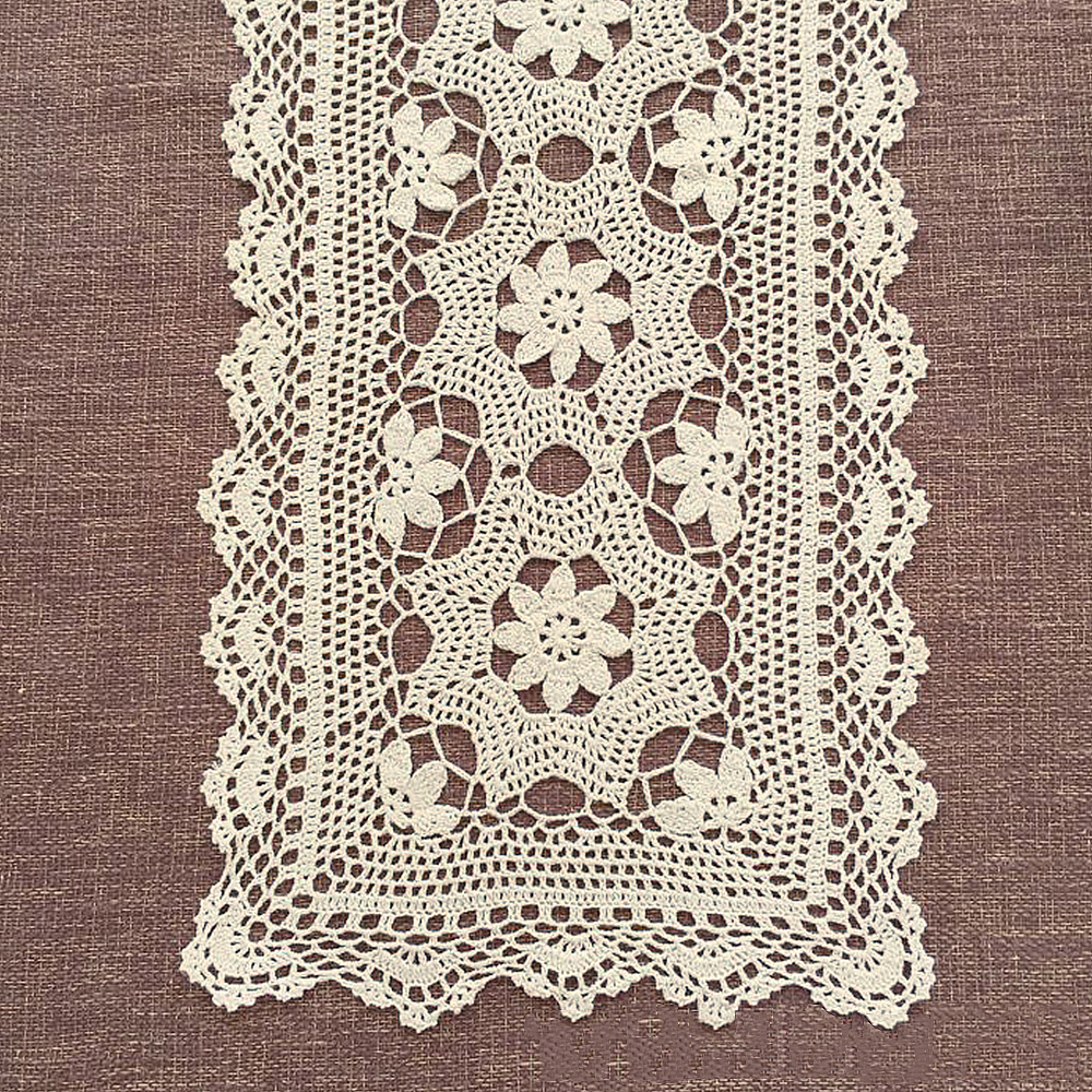 Floral Lace Wedding Party Table Runner Vintage Hand Crochet Cotton ...